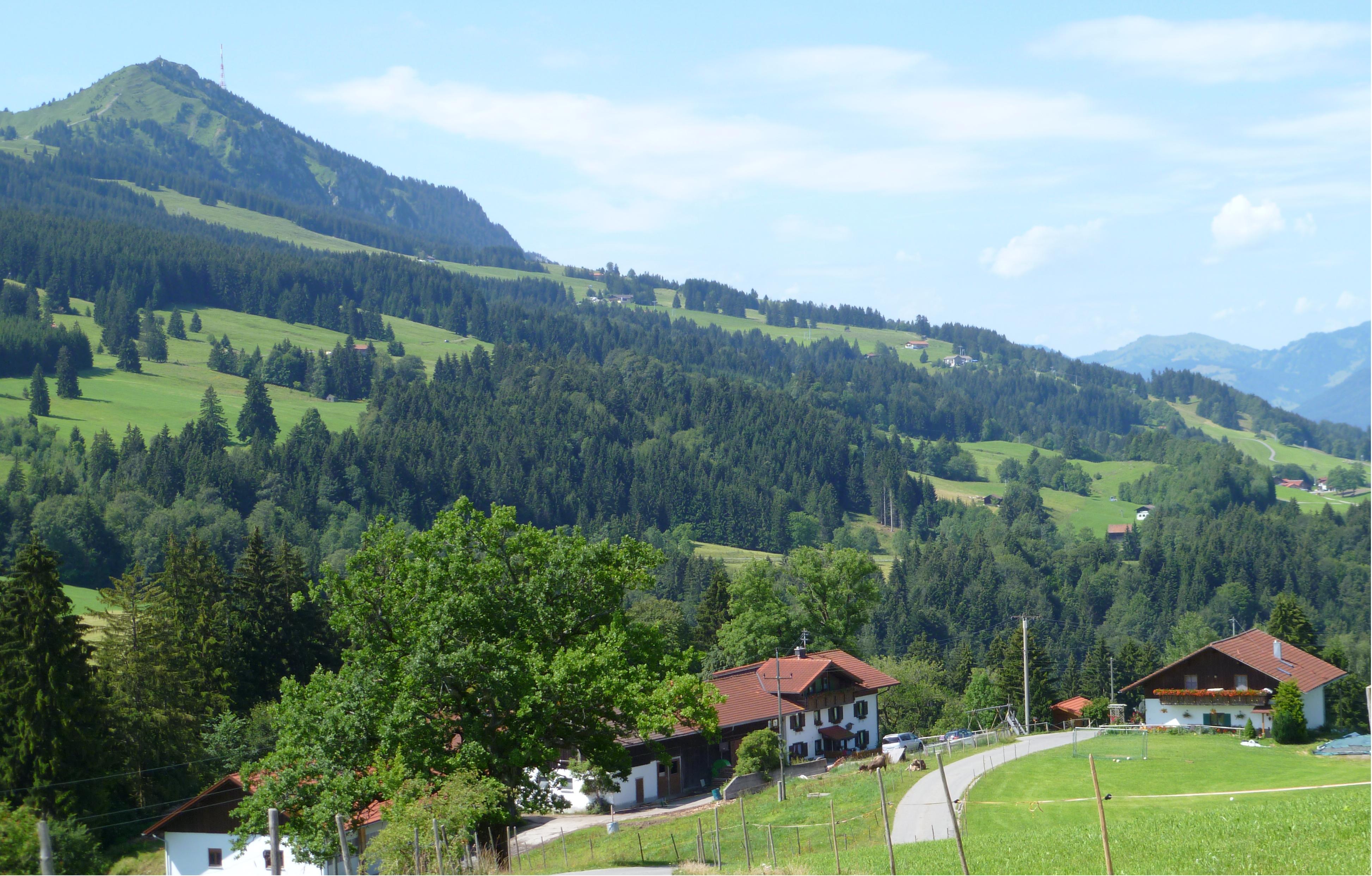 Aussicht auf den Grünten vom Bergbauernhof Rief