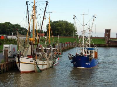 Fischerboote beobachten auf dem Ferienhof Hayenort