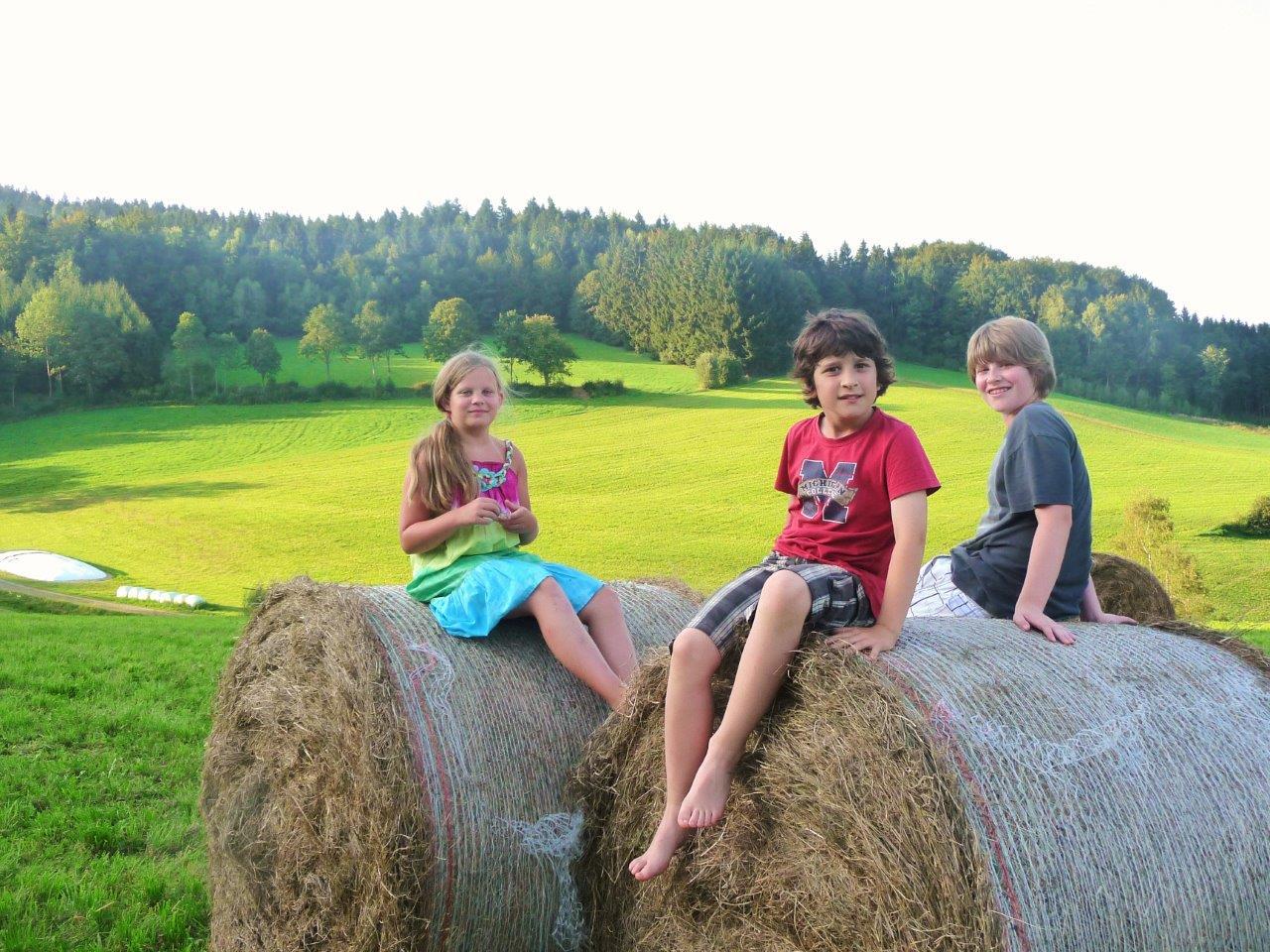 Kinder auf Heuballen beim Ranzinger Hof