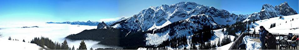 Winter auf den Bergen, auch für Wanderer mit den Bergbahnen ein Ziel