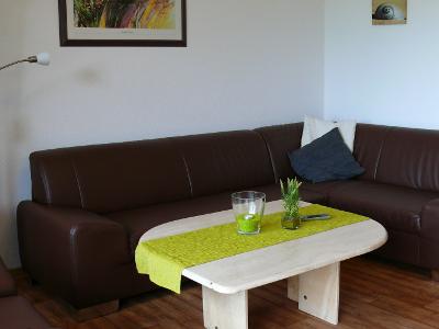 Wohnzimmer Wohnung Deichblick auf dem Ferienhof Hayenort