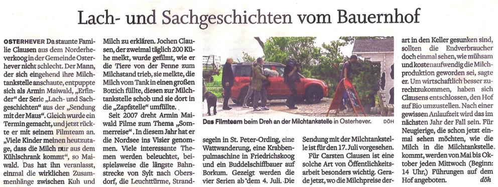 Zeitungsbericht der Husumer Nachrichten über den Besuch des Filmteams